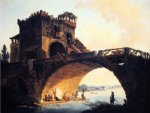 the old bridge by hubert robert painting