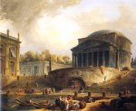 vue du port de ripetta a rome by hubert robert painting