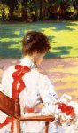 a study with sunlight by james carroll beckwith painting