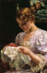 the embroiderer by james carroll beckwith painting