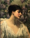 under the lilacs by james carroll beckwith painting