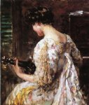 woman with guitar by james carroll beckwith painting
