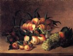 grapes apples and bowl of peaches by james peale painting
