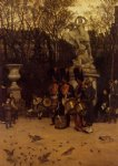 james tissot beating the retreat in the tuilleries gardens painting