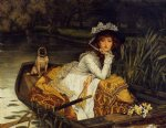 young woman in a boat by james tissot painting