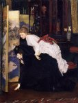 james tissot young women looking at japanese objects painting