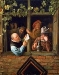 rhetoricians at at window by jan steen painting