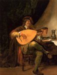 portrait paintings - self portrait as a lutenist by jan steen