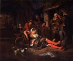 wine is a mocker by jan steen painting