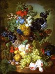 flower paintings - still life of flowers fruit and bird s nest on a marble ledge by jan van os