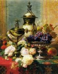 jean baptiste robie a still life with roses grapes and a silver inlaid nautilus shell painting 31291