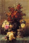 jean baptiste robie still life of roses and other flowers a silver painting 31295