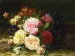still life of roses by jean baptiste robie painting