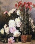 peonies and red carnations by jean capeinick painting