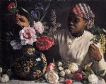 african paintings - african woman with peonies by jean frederic bazille