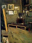studio of the rue visconti by jean frederic bazille painting
