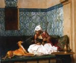 dog oil paintings - jean leon gerome arnaut blowing smoke at the nose of his dog by jean-leon gerome