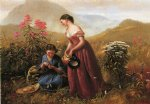gathering wildflowers by jerome thompson painting