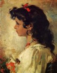 joaquin sorolla y bastida head of an italian girl painting