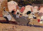 joaquin sorolla y bastida the beach at biarritz painting