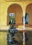 the fountain in the alc锟絲ar of seville by joaquin sorolla y bastida painting