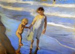joaquin sorolla y bastida valencia two little girls on a beach painting 31200