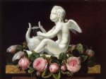 johan laurentz jensen garland of pink roses around cupid playing a lyre on a brown marble ledge painting 31111