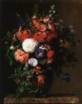 johan laurentz jensen lilies peonies violets and roses in a greek figure vase on a marble pedestal painting 31113