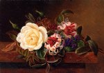 johan laurentz jensen still life with a rose and violets on a marble ledge painting 31117