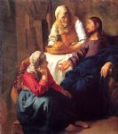 christ in the house of mary and martha by johannes vermeer painting