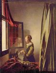 girl reading a letter at an open window by johannes vermeer painting