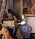 lady seated at a virginal by johannes vermeer painting