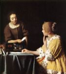 lady with her maidservant holding a letter by johannes vermeer painting