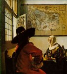 soldier and a laughing girl by johannes vermeer painting