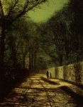 tree shadows on the park wall roundhay park leeds by john atkinson grimshaw painting