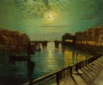 whitby harbor by moonlight by john atkinson grimshaw painting
