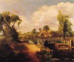john constable landscape with boys fishing painting