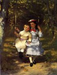 john george brown two girls on a swing painting