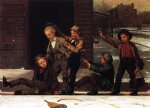 john george brown winter sports in the gutter oil painting