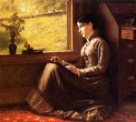 john george brown woman seated at window painting