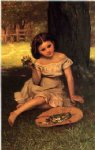 john george brown young girl with flowers painting 31062
