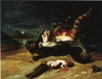 two cats fighting by john james audubon painting