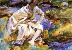 a man seated by a stream val d aosta pertud by john singer sargent painting