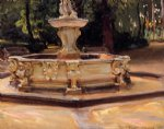 a marble fountain at aranjuez spain by john singer sargent painting