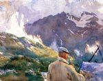 artist in the simplon by john singer sargent painting
