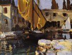 boat with the golden sail san vigilio by john singer sargent painting