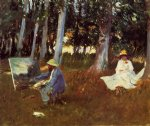 claude monet painting by the edge of the woods by john singer sargent painting
