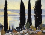 cypress trees at san vigilio by john singer sargent painting