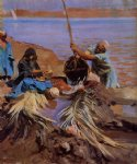 egyptians raising water from the nile by john singer sargent painting
