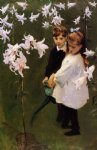 garden study of the vickers children by john singer sargent painting